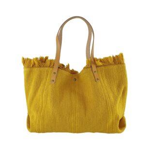 Geantă dama din bumbac și piele naturala Sole-galben