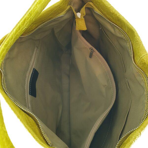 Geanta dama din piele naturala Cinzia-galben