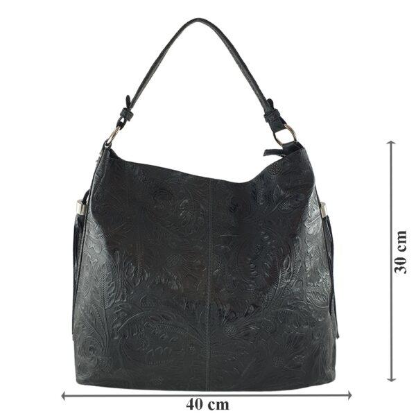 Geanta dama din piele naturala Cinzia-negru
