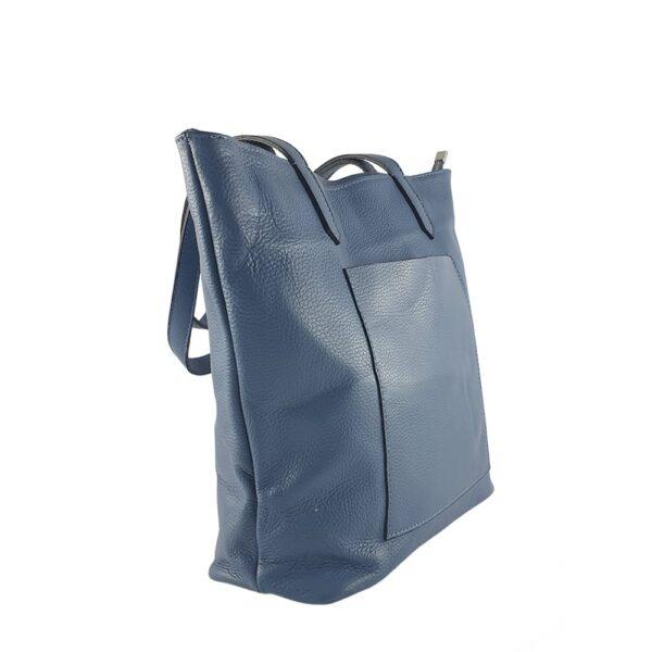 Geanta shopper din piele naturala Mara-albastru