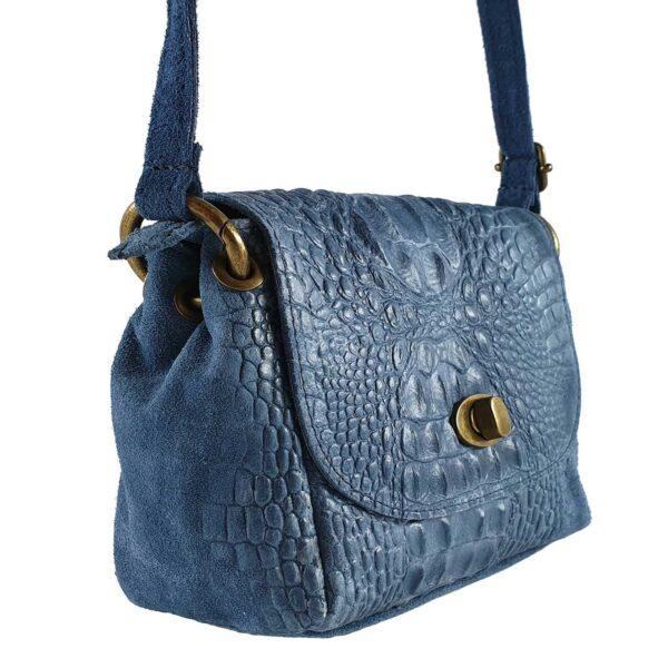 Tayra geanta din piele culoare albastra