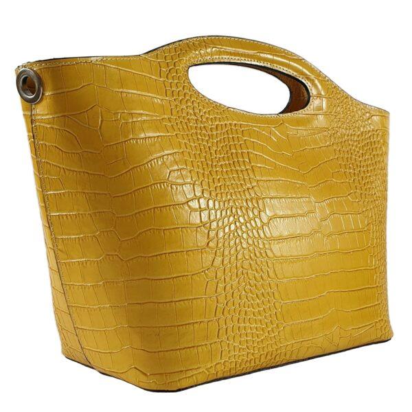 geanta din piele naturala galbena camelia 3