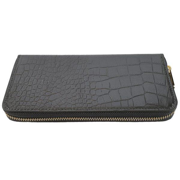 portofel din piele naturala gri metalizat 2