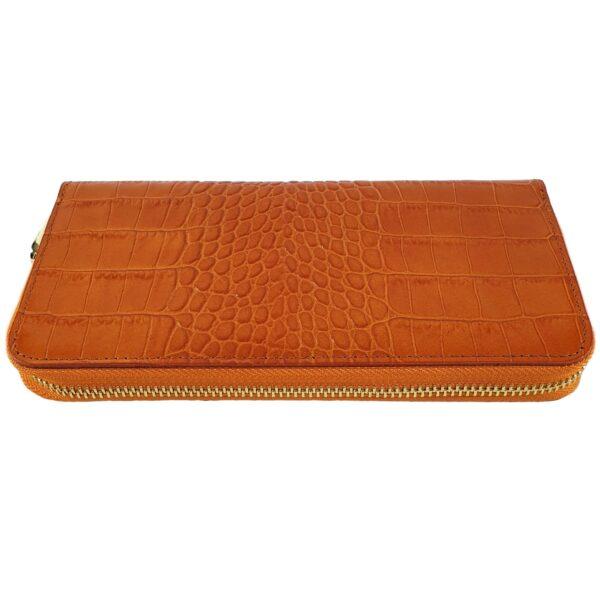portofel din piele naturala portocaliu 2